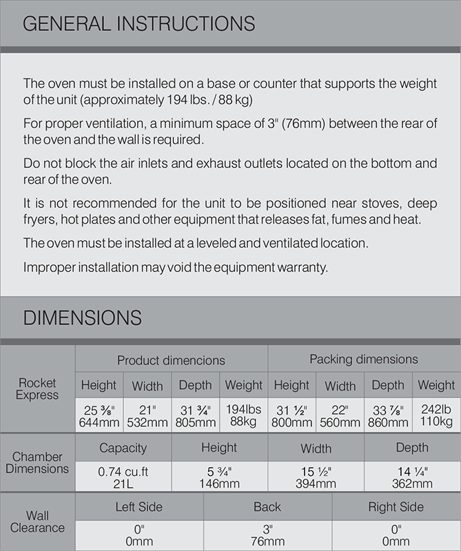 Rocket Express Specifications Table