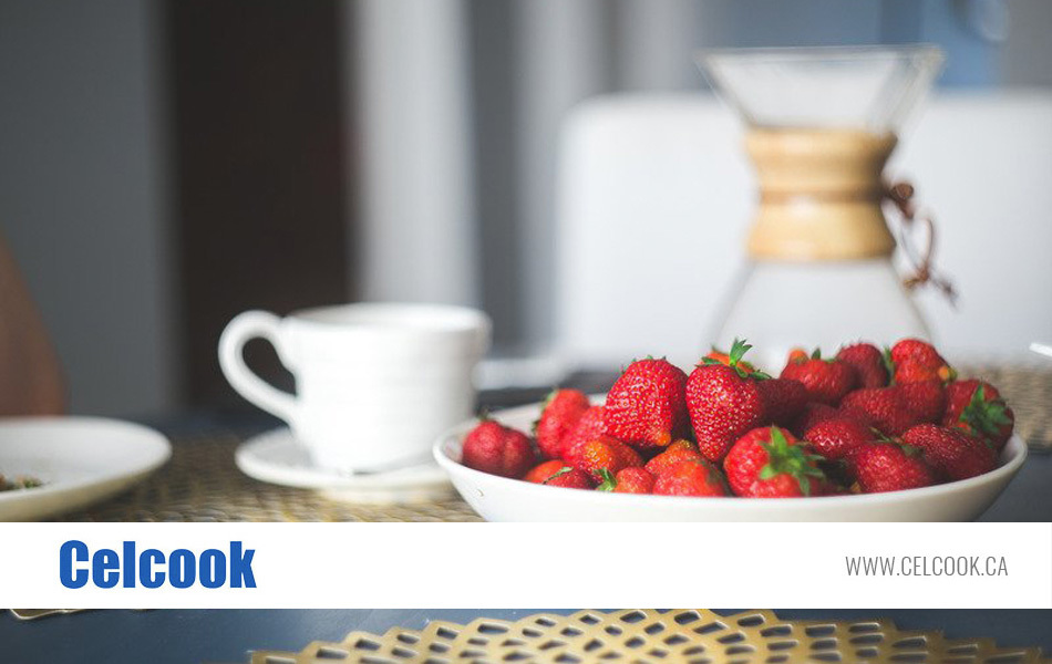 use commercial microwave to make breakfast with fresh strawberries